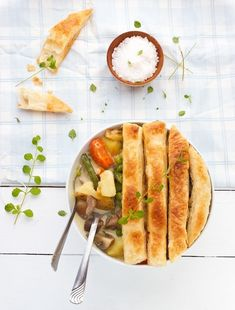 Lazy Veggie Pot Pie with Puff Pastry Top
