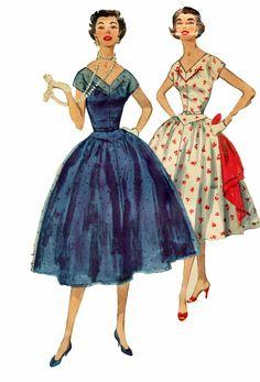 Simplicity 1116 1950s Full Skirt V Neck Back Dress Sewing Pattern 34 Bust Size 16. $22.00, via Etsy.
