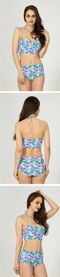 Purple Floral High Waist Bikini Bikini For Women, Halter Bikini, High Waist, Purple, Bikinis, Floral, Shopping, Bikini, Flowers