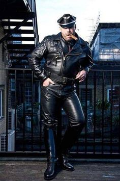 Great example of The Breeches and Leather Uniform Fan Club (BLUF) Chicago dress code. Wear your leather and join us at our next strict dress code social: Saturday each month at Touché. More info. Leather Men, Leather Boots, Black Leather, Leather Jackets, Leather Motorcycle Pants, Cigar Men, Man Smoking, Cigar Smoking, Good Cigars