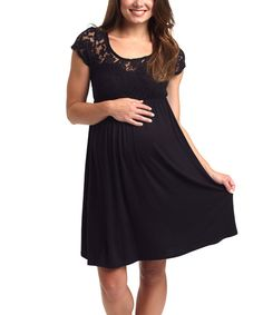 Look at this Black Lace-Top Maternity Scoop Neck Dress on #zulily today!