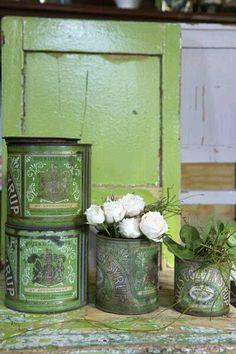 Shabby Chic Set Smalto fioriere secchi di piante da Giardino Bagno di Stoccaggio Visualizzazione