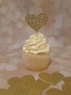 12 Gold Glitter Heart Cupcake Toppers by JustCupcakesToppers