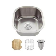 MR Direct All In One Undermount Stainless Steel 16 In. Single Bowl Bar Sink