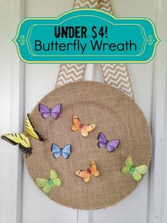 beautiful butterfly wreath frugal gift decor - makes a wonderful handmade gift and easy enough for kids to craft