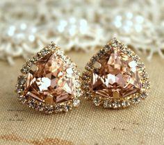 Rhinestone Crystal Vintage Pink stud earring bridesmaids gifts bridal earrings - 14k 1 micron Thick plated gold earrings real swarovski