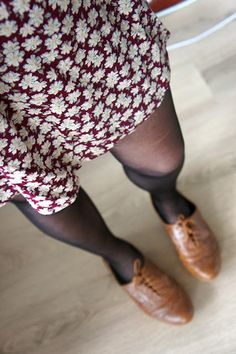tan brogues, style, floral dress, burgundy, autumn, fashion, winter