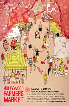 Poster for the Hollywood Farmers Market (Oregon) by Michael Hirshon