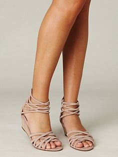 e013891f4093f  Wedge Sandals  Strappy Dizzy Wedge Sandals Nude Sandals