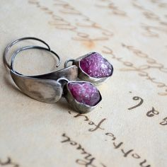 Natural raw rubies and sterling silver earrings