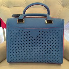 Blue Vegan Handbag with laser cut details