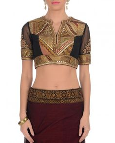 use of vintage sari for blouse and then if a modern sari layered over it