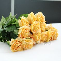 Golden Lotus 10 Pcs Romantic Real Touch Artificial False Latex Silk Blooming Roses Bouquet Floral Leaf for Home Wedding Party Garden Bridal Hydrangea Decorations DIY (Yellow rose) -- You can get additional details at the image link.