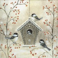 20 Lunch Napkins Serviettes for Christmas Celebration- Beautiful Birdhouse- Stunning Napkins pack of Winter Napkins, Stunning Napkins * Christmas Bird, Christmas Scenes, Vintage Christmas Cards, Tole Painting, Painting & Drawing, Watercolor Paintings, Bird Drawings, Bird Pictures, Christmas Paintings