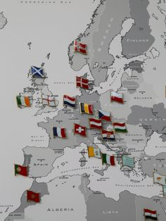Contemporary World Map Detail Measuring X And Split Over - Flag pins for maps