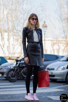 leather weather. #VeronikaHeilbrunner in Paris.