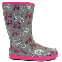 Ladies Grey Pink #Bicycle Wellies #Wellington #Boots