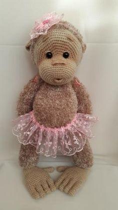 084 Baby Monkey pattern by LittleOwlsHut Crochet Monkey Pattern, Crochet Teddy, Crochet Girls, Crochet Cross, Crochet Toys Patterns, Cute Crochet, Amigurumi Patterns, Amigurumi Doll, Crochet Baby