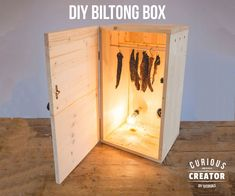 Wooden Biltong Box: 8 Steps (with Pictures) Wooden Diy, Wooden Boxes, Wooden Steps, Wooden Lockers, Biltong, Smoke Grill, Outdoor Food, Outdoor Cooking, Home Brewing Beer