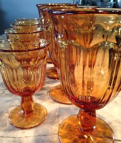 "Amber Gold ""Provincial"" Pattern Water Goblets, (4) Large, (4) Small by InTheArmoire on Etsy"