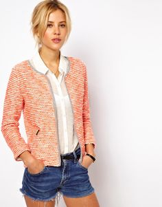 $32.41 on @Keaton Row website, arranged with full of fashion... click to see it in action. Jacket by ASOS Collection Body: 57% Cotton, 20% Acrylic, 15% Viscose, 8% Polyester  Made from a cotton rich boucle. An open front with a contrasting trim. Cropped sleeves. Side zipped pockets. Cropped boxy fit.
