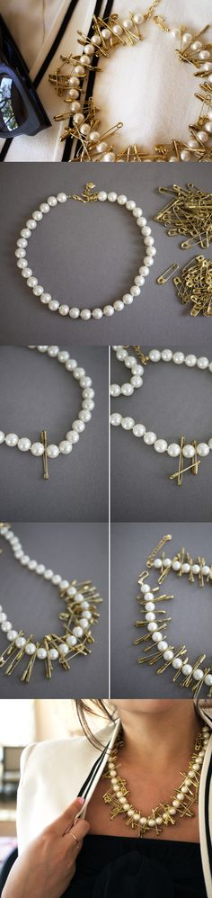 boa ideia / DIY Pearl and Safety Pin Necklace diy crafts craft ideas easy crafts diy ideas crafty easy diy diy jewelry craft necklace diy necklace diy fashion jewelry diy diy necklaces Old Jewelry, Beaded Jewelry, Jewelry Making, Jewellery, Necklace Tutorial, Diy Necklace, Tribal Necklace, Pearl Necklace, Diy Schmuck