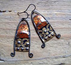 Earrings of recycled vintage tin , brass and pewter -2 Please keep in mind that this is made from a recycled tin container. Scratches, marks, and age are part of the charm of recycled materials.