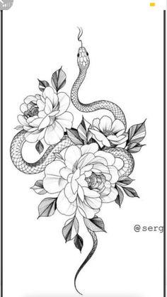 Snake And Flowers Tattoo, Flower Hip Tattoos, Tattoos For Women Flowers, Cute Tattoos For Women, Hip Tattoos Women, Dainty Tattoos, Dope Tattoos, Snake Tattoo, Unique Tattoos