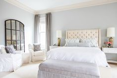 Cream Tufted Headboard, Transitional bedroom, Sherwin Williams Front Porch, Laura U Interior Design