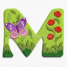 Spring butterfly font. Exclusive - Cute Alphabets - Embroidery Fonts