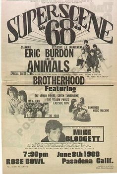 Full page newspaper promotional concert ad for Superscene 68 featuring Eric Burdon and the Animals at the Rose Bowl in Pasadena, CA. Lettering by Bob Masse.  11x17 inches.  Original ad, not a photocopy or reproduction.