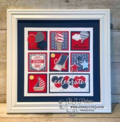 Patriotic Summer Frame Class Create this gorgeous Summer Patriotic Frame! It's going to be a prefect addition to your summer decor. You'll need your own frame. (Mine is a x but you can size this to also fit in a x Class Options In Person – … Box Frame Art, Diy Frame, Fall Craft Fairs, Collage Frames, Collage Ideas, Candy Cards, Frame Crafts, Crafty Projects, Stamping Up