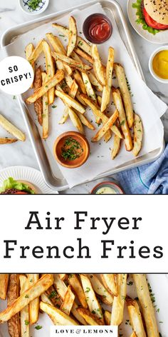 These air fryer French fries are just as crispy and delicious as regular fries, but they use WAY less oil! They're a fun, easy appetizer, side, or snack. | Love and Lemons #airfryer #airfryerrecipes #frenchfries #potatoes #appetizers Vegetarian Appetizers, Appetizer Recipes, Vegetarian Recipes, Appetizer Ideas, Vegan Meals, Crispy French Fries, French Fries Recipe, Easy Holiday Recipes, Healthy Recipes On A Budget