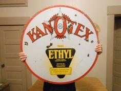 "Vintage Sign Kanotex Ethyl Gasoline with the Ethyl Log 30"" Gas Oil #KanOTex"