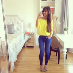 Yellow shirt, yellow sweater, off shoulder sweater, skinny jeans, bright blue jeans, cute outfit