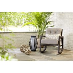 Shop Allen + Roth Lawley Textured Black Outdoor Rocking Chair At Lowes.com