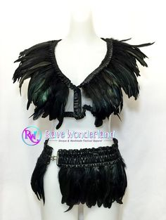 Women's Black Feather Top & Feather by RaveWonderlandShop on Etsy
