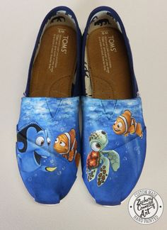 Custom designed hand painted Toms shoes inspired by Disney and Pixars Finding Nemo My custom painted shoes are hand painted with high