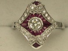 Art Deco Style 18ct White Gold Diamond Ruby Cluster Ring UK Size P1 2 | eBay