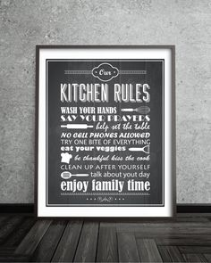 Family Kitchen Rules Kitchen Decor  Family Rules by BlackPelican