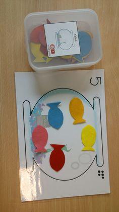 tellen: een-een-relatie Montessori Math, Kindergarten Activities, Teaching Math, Preschool Activities, Rainbow Fish, Learning Numbers, Ocean Themes, Math For Kids, Math Centers