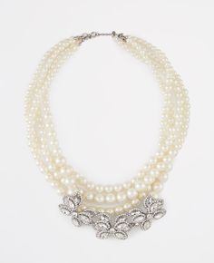 Pearlized Crystal Brooch Statement Necklace | Ann Taylor