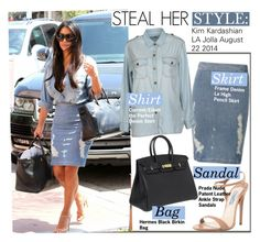 """""""Steal Her Style-KIm Kardashian"""" by kusja ❤ liked on Polyvore featuring Frame Denim, Current/Elliott, Prada, Hermès, denim, Stealherstyle, kimkardashian and celebstyle"""