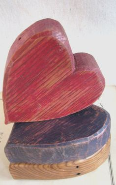 Distressed Red Barn Wood Heart