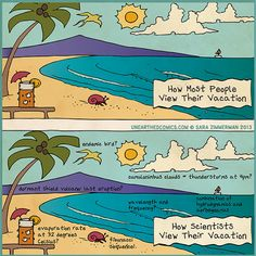 Science humor and science cartoons about vacation
