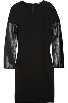 DKNY Leather-sleeved jersey-twill dress #fashion #runway @NET-A-PORTER Group LTD IT Careers