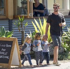 """I love how the sign says """"Cold Beer and Whale Watching"""" Chris Hemsworth Family, Hemsworth Brothers, Chris Hemsworth Thor, Daddy Daughter Pictures, Cute Baby Girl Pictures, Marvel Funny, Marvel Movies, Abs Boys, Great Smiles"""