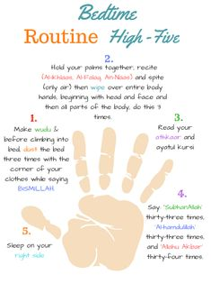 The Muslimah Guide Islamic Bedtime Routine High Five Free Printables The Islam Hadith, Allah Islam, Islam Muslim, Islam Quran, Alhamdulillah, Duaa Islam, Beautiful Islamic Quotes, Islamic Inspirational Quotes, Best Islamic Quotes
