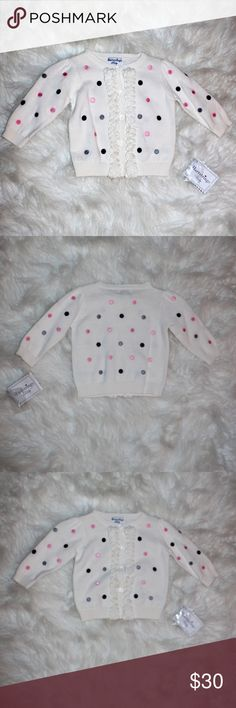 Hartstrings | Baby girl Polka Dot Cardigan/Sweater Soft cotton knit sweater has embroidered polka dots and a sweet ruffled button placket. Ruffle-trimmed button front; Ribbed neck, cuffs, placket and hem;. So adorable! NWT!   Cotton; Machine wash; Imported  Brand | Hartstrings Baby Size | 3 Months Hartstrings Shirts & Tops Sweaters