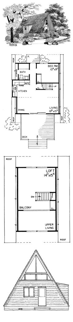 A Frame House Plan 95007 | Total Living Area: 810 sq. ft., 1 bedroom & 1 bathroom. Lovely Design, Open Floor Plan, Great Room with Dining Area, Country Kitchen, Built-In Cabinets, Inside Balcony, Loft, Master Suite with Private Porch, Deck, Sliding Doors, Window Wall, Picture Windows #aframe #houseplan